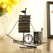 Reloj de vela Retro de alta calidad de Metal de navegación reloj de mesa de escritorio pluma de estilo clásico titular figuras de reloj decoración clásica del hogar