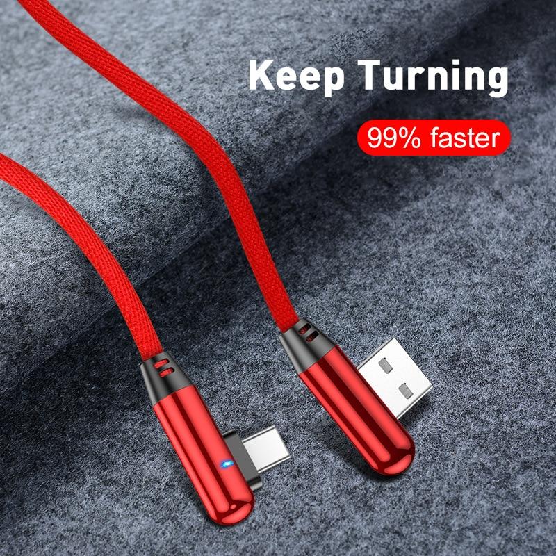1 2 м 90 градусов быстрой зарядки и передачи данных Type-C Micro USB C кабель зарядный кабель с разъемом типа c длинными мобильный телефон провод шнур ...