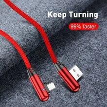 1 2 m 90 graus de carga rápida tipo de dados c micro usb c cabo tipo-c carregador longo cabo de fio do telefone móvel para samsung huawei xiaomi