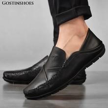 Mocasines de hombre Pisos de cuero genuino Zapatos de cuero casuales