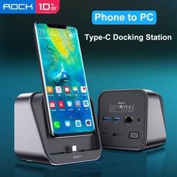 Rock tipo-c docking station 4 k telefone para pc hdmi & vga saída pd carregador rápido para samsung s20 ultra dex para huawei p30 nuvem