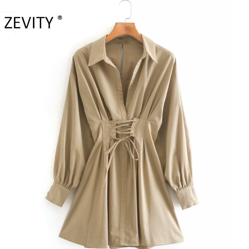 ZEVITY women vintage solid color pleats bandage shirt dress office ladies long sleeve vestidos casual slim poplin dresses DS4257