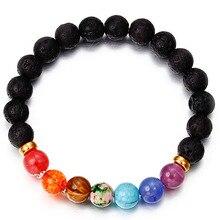 Newst 7 Chakra Bracelet Men Black Lava Healing Balance Beads Reiki Buddha Prayer Natural Stone Yoga For Women 2018