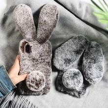 Rabbit fluffy Ears Fur Plush diamond Warm phone Case For