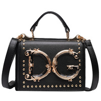 Luxury Fashion Rivet Handbag Women Metal Letter Shoulder Bag Famous Designer Ladies Crossbody Messenger Bag Female Bolsa