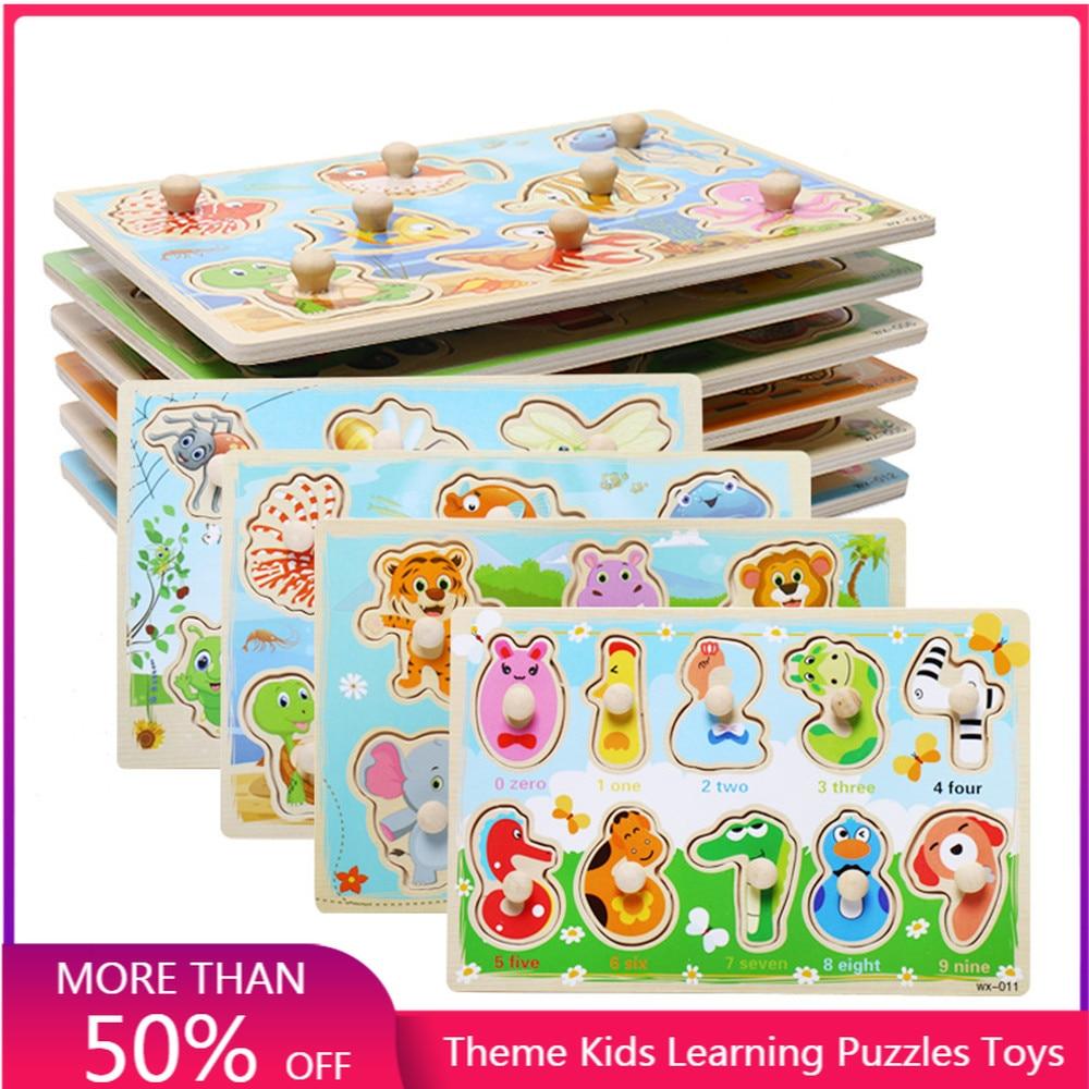 Jogo cérebro quebra-cabeças brinquedos crianças brinquedo de madeira educacional animais números de aprendizagem quebra-cabeça placa 2020 brinquedos engraçados do bebê de madeira