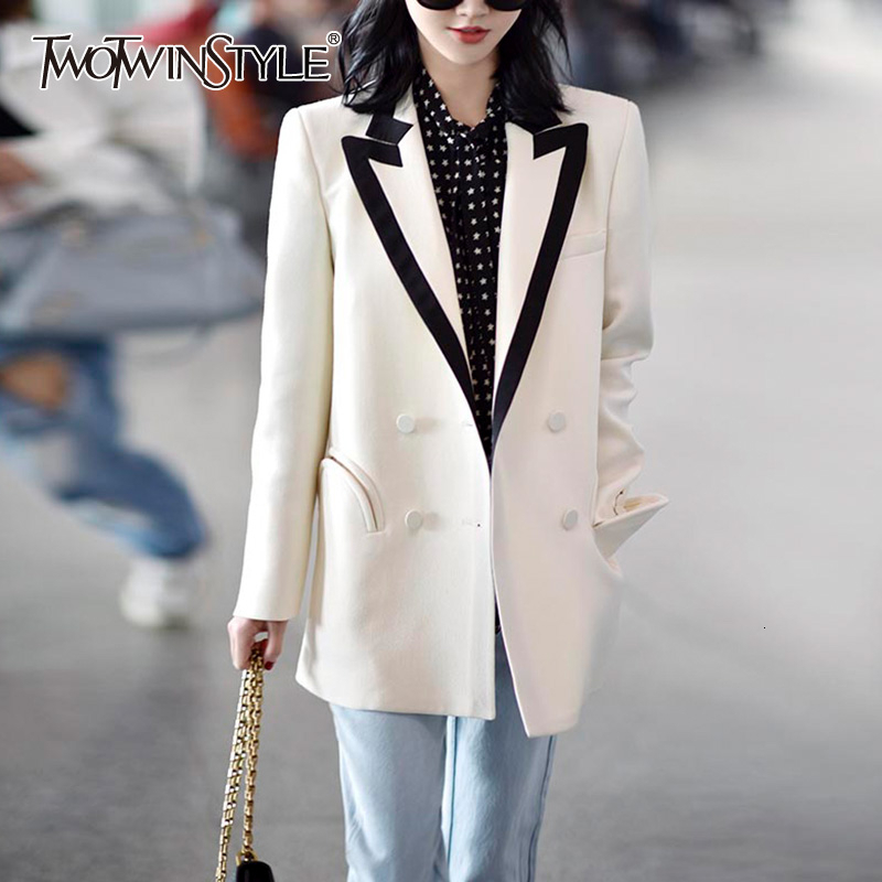TWOTWINSTYLE Casual Patchwork Hit Color Women's Blazers Notched Collar Long Sleeve Loose Suits For Female Fashion 2019 Clothing