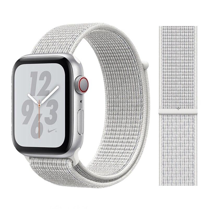 Для наручных часов Apple Watch, версии 3/2/1 38 мм 42 мм нейлон мягкий дышащий нейлон для наручных часов iWatch, сменный ремешок спортивный бесшовный series4/5 40 мм 44 мм - Цвет ремешка: Color28 Summit White