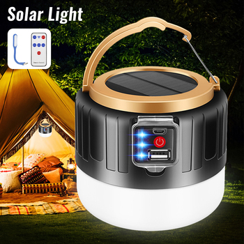 Solar LED Camping Light USB Rechargeable Bulb For Outdoor Tent Lamp Portable Lanterns Emergency Lights Flashlight For BBQ Hiking cob work light flashlight examining light led camping lamp led tent light portable lanterns foldable torch lamp portable lights