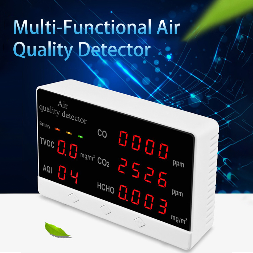Analizador Digital de Gas HCHO/TVOC/CO/CO2/AQI, Mini Monitor de calidad del aire, medidor de CO2, uso doméstico y escolar, Detector de Gas