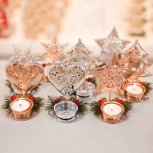 2019 Christmas Red Pine Cone Splice Candlestick Desktop Decoration Craft Festival Party Supplies