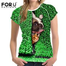 FORUDESIGNS koszulka damska harajuku z psem 3D mops buldog koszulki z krótkim rękawem dla kobiet 2019 koszulki z krótkim rękawem kobiet z krótkim rękawem damskie koszulki tanie tanio Poliester Elastan COTTON NONE Tees Zwierząt Topy REGULAR Suknem Kobiety O-neck Na co dzień women t shirt slim elasticity impervious