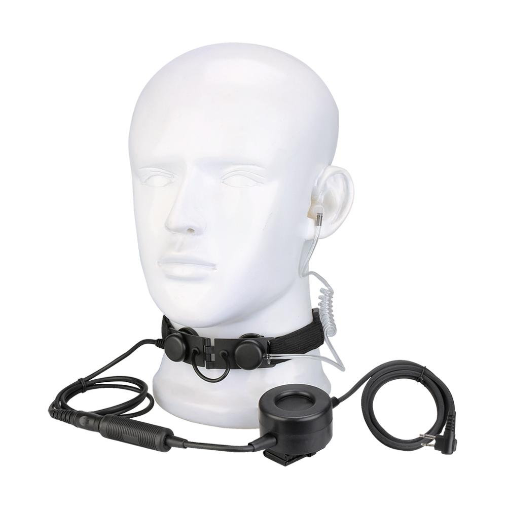 4-RETEVIS ETK005 Adjustable Tactical Throat Mic With PTT Walkie Talkie Headset For Airsoft Game Headphone