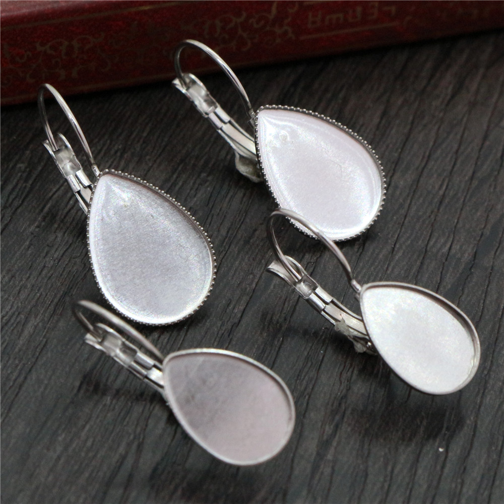 13*18mm And 10*14mm 10pcs Stainless Steel Drop French Lever Back Earrings Base,Fit 13x18mm And 10x14mm Drop Glass Cabochons
