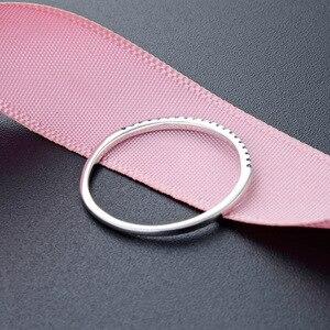 Image 3 - Jrsial 925 prata esterlina jóias zircão anel coreano moda anel ultra estreito fino simples anel