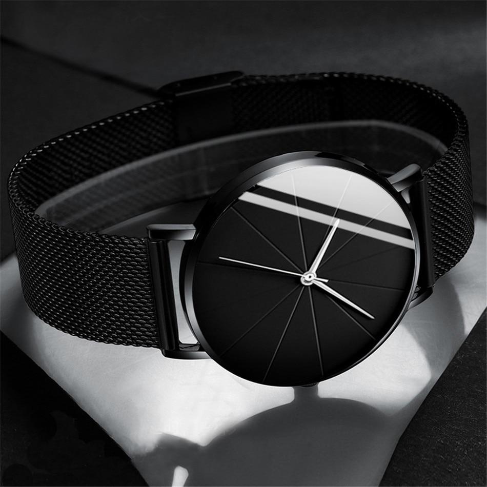 2021 minimalista moda masculina relógios simples negócios