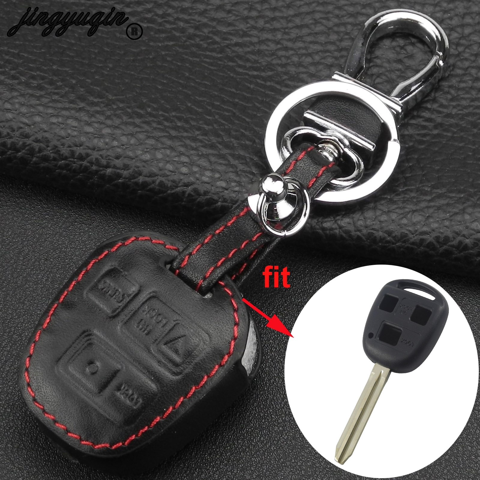 jingyuqin Leather Remote Car <font><b>Key</b></font> <font><b>Case</b></font> Cover For Toyota Tarago RAV4 Corolla Camry Celica Avalon for <font><b>Lexus</b></font> IS200 GS300 LS400 <font><b>RX300</b></font> image