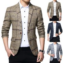 New Men Blazers British Spring Style Plaid Male Slim Thick Casual Long sleeve lapel buttons Business Blazer Coat Men