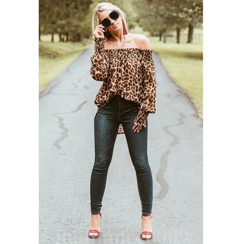 Sexy Style Women Leopard   Shirts   Off Shoulder Printing Loose Tops Pullovers Chic Ladies   Blouse   Stylish Femme Blusa   Shirt   Clothing