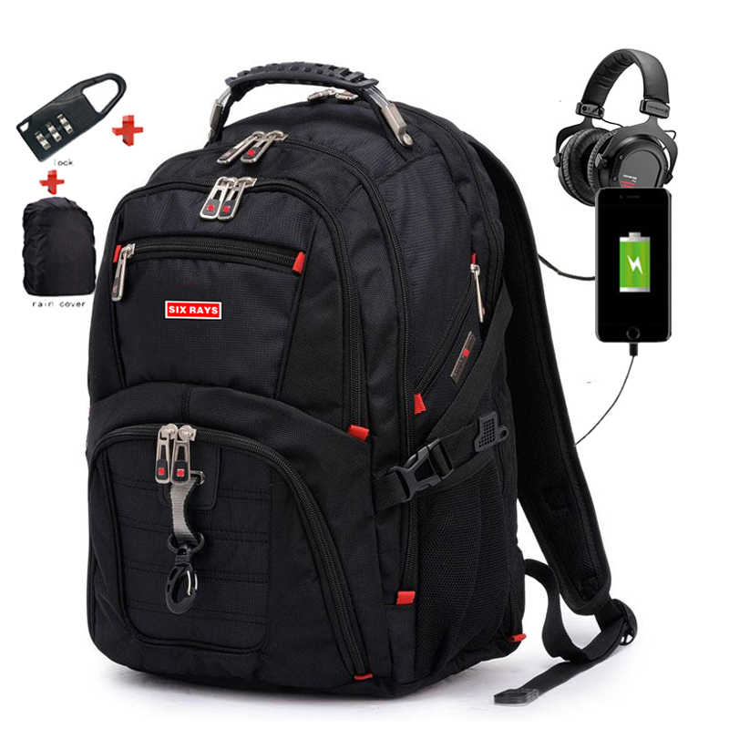 "Brand Swiss Laptop 15.6"" Backpack External USB Charge Swiss Computer Backpacks Anti-theft Backpack Waterproof Bags for Men Women"