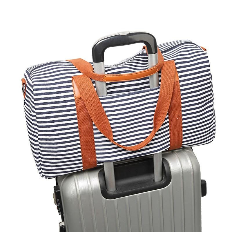 New Popular Striped Travel Bag Fashion Short-distance Duffel Bag Men And Women Outdoor Canvas Shoulder Crossbody Bag