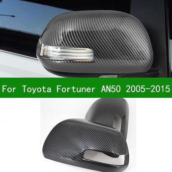 For Toyota Fortuner SW4 2005-2015 car Black carbon fibre Rearview mirror cover trim 2010 2006 2007 2008 2009 2011 2012 2013 2014 image