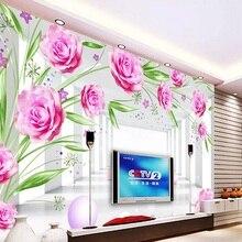 На заказ Большая фреска 3D обои современный креативный 3D расширение пространства коридор Роза ТВ Задняя стенка Декор глубокий 5D тиснением