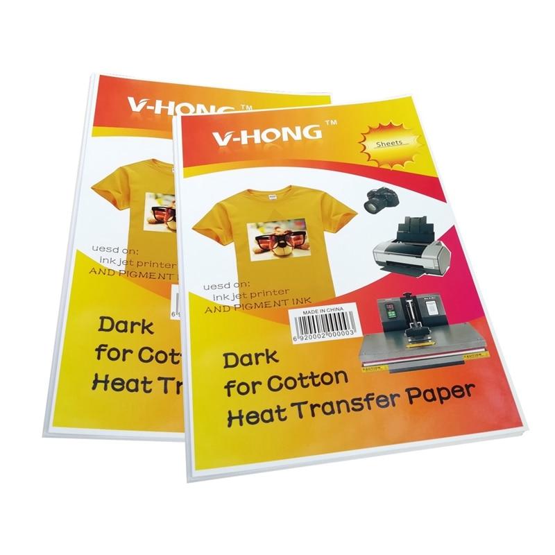 A4 demir-on transferler koyu ve açık kimyasal elyaf sıcak damgalama Transfer kağıdı süblimasyon saf pamuklu kumaş ısı transferi kağıt
