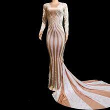 Красочные блёстки с длинным рукавом стразы платье женские вечерние праздничные длинные платья Русалка женский певец сценический костюм