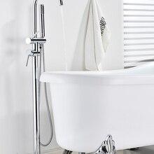 Onyzpily хром ванной Стоящий Кран Ванная комната душевой кран 360 Вращающийся шарнир носик с Гибкая рука смеситель для душа