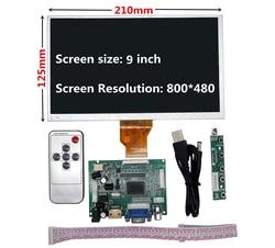 9 polegada tela lcd monitor com placa de controle remoto motorista 2av hdmi vga para raspberry pi banana/laranja pi mini computador