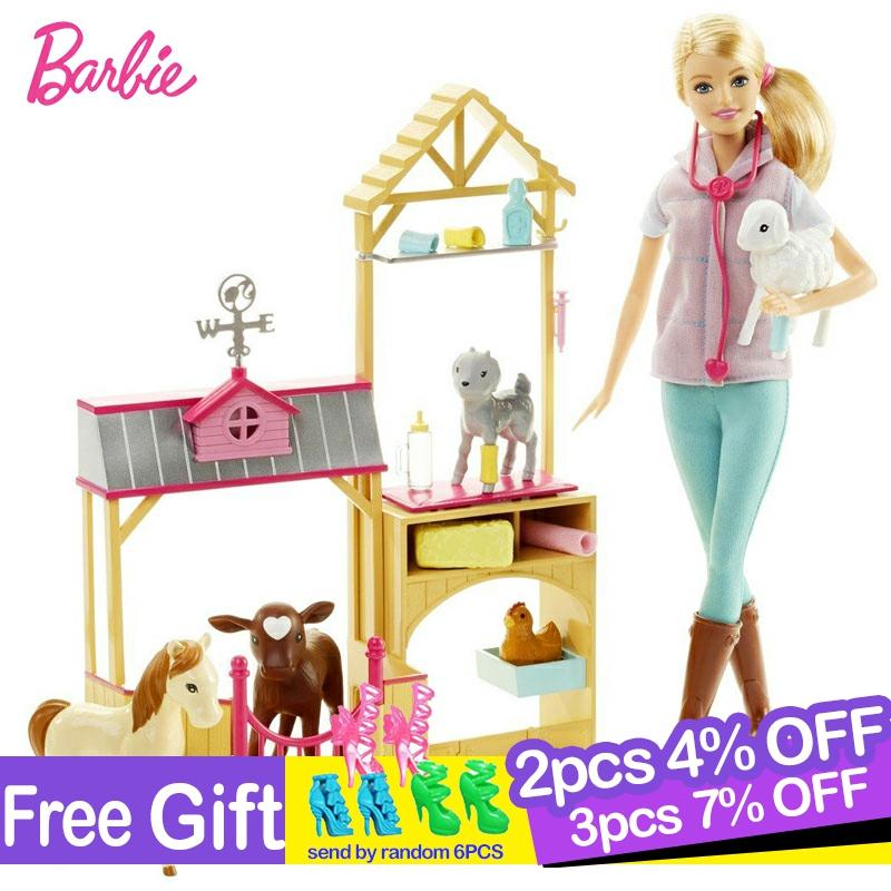 <font><b>Original</b></font> <font><b>Barbie</b></font> Doll Animal Rescuer Doll & Playset Kit Cute Room Baby Girl Toys For Children Poppenhuis <font><b>Casa</b></font> de Bonecas image