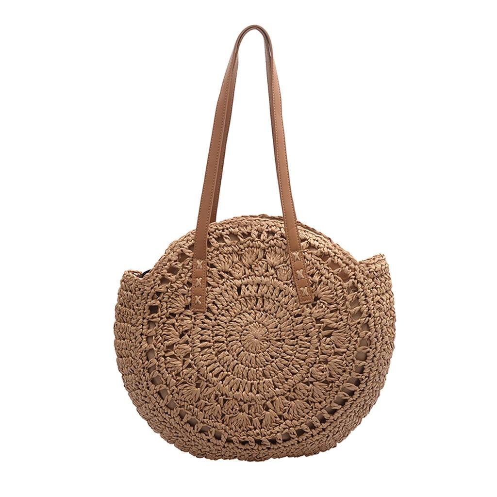 2020 круглые соломенные сумки для женщин, летняя плетеная пляжная сумка ручной работы через плечо, круглая богемная сумка, Бали bolso paja *