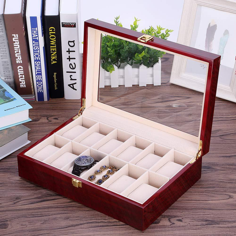 6/12 Slots Glass Wooden Wrist Watch Display Box Jewelry Storage Case Organizer Perfect Gift For Friends Jewelry Watch Collectors