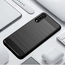 Carbono Caso de Telefone de Silicone Macio Para Samsung Galaxy A50 A10 A20 A30 A40 A70 M20 M30 M40 Fibra Capa Bumper galaxyA50 Galaxi 2019