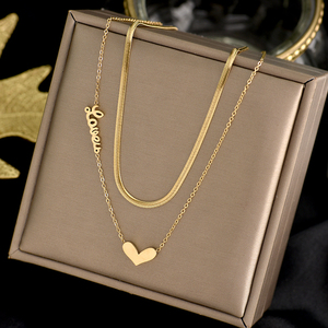 Titanium steel New fashion jewelry 2 layer heart love choker snake necklace nice gift for women girl