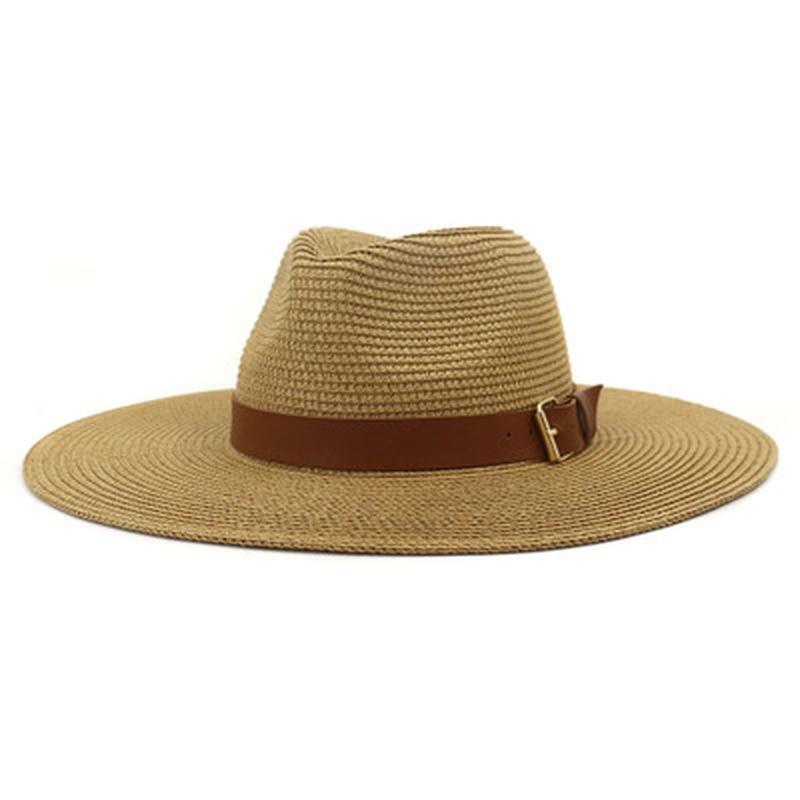 straw hats women men summer big brim 15cm sun hats belt buckle outdoor beach travel sun protective summer women khaki sun hats
