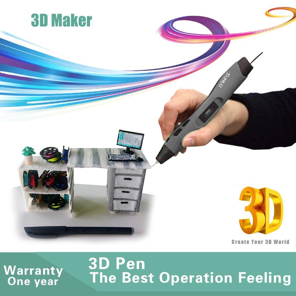 SL 300A pluma de impresión 3D de baja temperatura pluma de Graffiti para niños herramienta de dibujo divertida con 5M 20 colores Material PLA