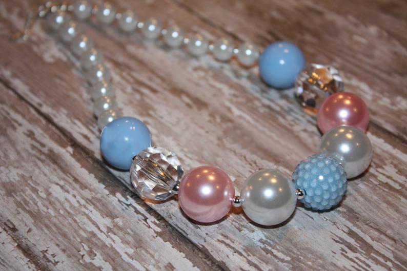 Confira-me chunky colar-azul e rosa-bubblegum colar-bebê-criança-meninas-festa favores colar sn28