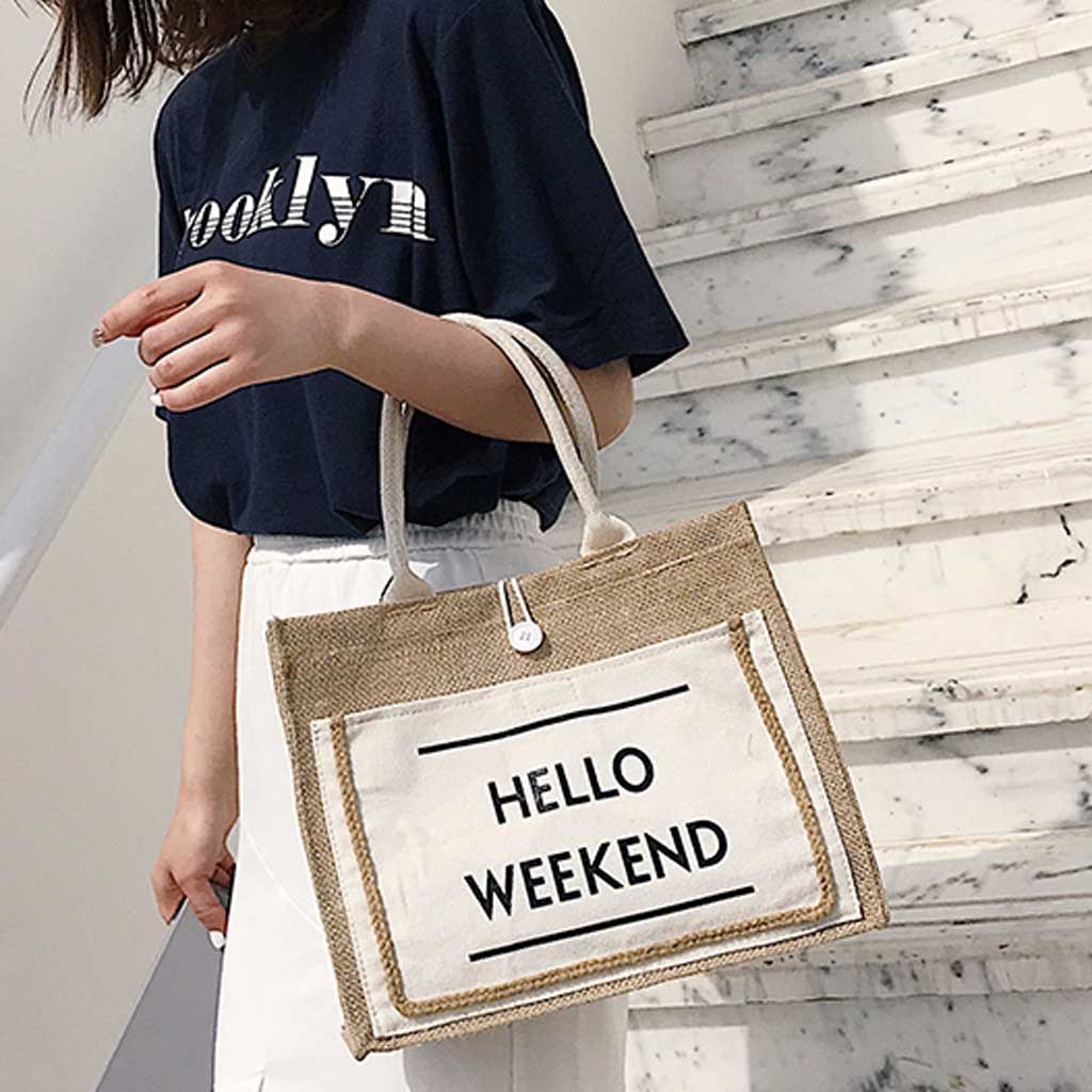 Women's Shopping Bag Linen Handbag Large Capacity Reusable Shopper Bag Casual Shoulder Daily Eco Shoping Bag High Quality #57