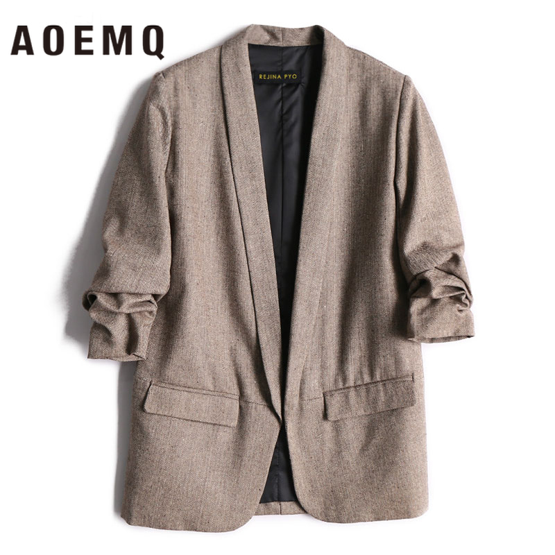 AOEMQ Women Fall Jackets Deep Color With Pocket Coats Lady Office Wear Open Stitch Mature Cold Season Coats Outwear Clothing