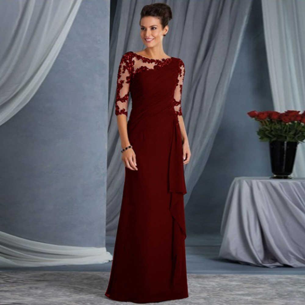 エレガントなレースのパッチワークロングドレスの女性 o ネック五分袖ハイウエストフリルスリムイブニングパーティードレス vestidos プラスサイズ
