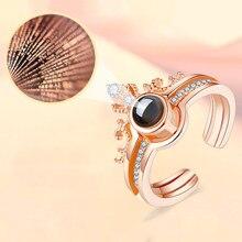 FNIO różowe złoto I srebro kolor 100 języków kocham cię pierścień projekcyjny romantyczne wspomnienie miłości obrączka biżuteria