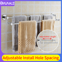 Towel Bar Double Stainless Steel Towel Rack Hanging Holder Wall Mounted Telescopic Bathroom Towel Holder Adjustable Length цены
