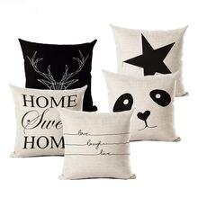 Чехлы хлопковый льняной подушки с надписью «love home» черный