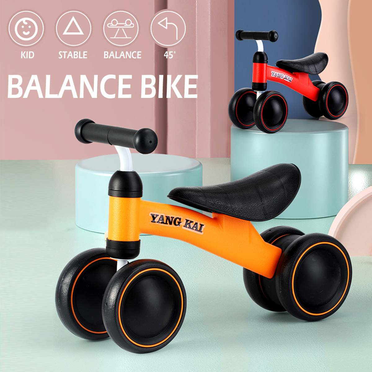 4 Wheels Baby Balance Bike Bicycle Children Walker Toddler Bike Children's Push Scooter Outdoor Ride on Toys Cars Kids Toys Gift