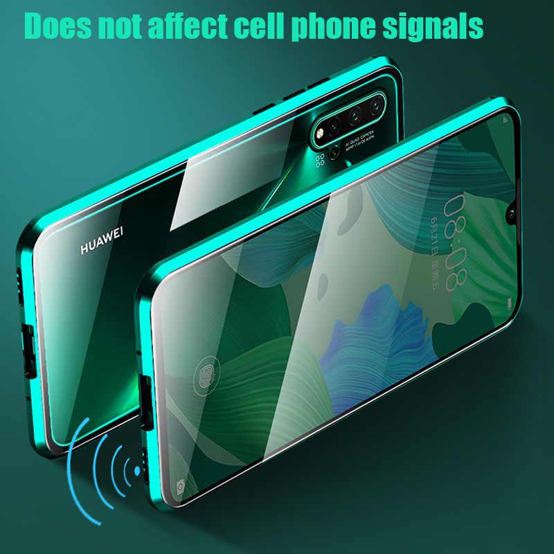 Magnetico Metallo Side Double Glass Cassa Del Telefono Per Huawei Honor Compagno 30 20 10 Lite P30 P20 Pro 8X 9X y9 Prime P Smart Z 2019 di Copertura