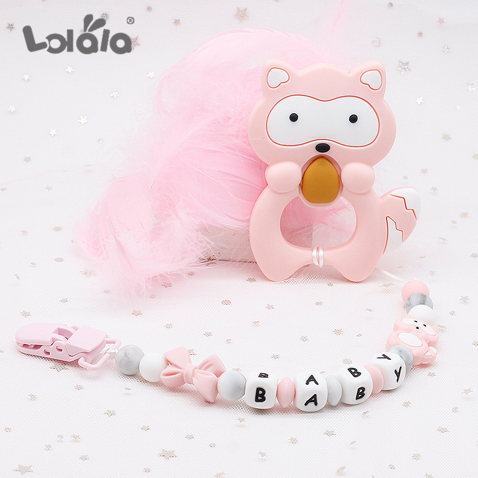 Personalized Name Silicone Beads Teething Pacifier Clips BPA Free  Pacifier Chain Holder Nipples For Baby Chew Toys Dummy Clip
