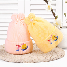 Knitted peral bee Baby Winter Hat For Kids Handmade Beanies Double Side Bonnet Warm Hats Cute Caps 2019  Hot Sale
