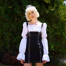 Gothic Women's Dress Solid Black Sundress Jeans Harajuku Streetwear Suspenders Punk Female Denim Dress Sarafan Overalls Dresses(China)